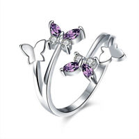 Color Crystal Adjustable Fashion Jewelry Rings For Women Finger Ring Butterfly