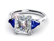 3ct Emerald Cut Diamond Solitaire Unique Engagement Ring 14k White Gold Over