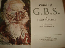 PORTRAIT OF G.B.S.BY FELIKS TOPOLSKI,WITH SIGNED POSTCARD FROM AUTHOR,LTD EDITON