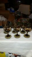 Vintage Libbey Tawny Brown Accent Stemmed  Glasses Set of 6.