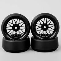 4X 1:10 Drift 5 Degree Hard Plastic Tyre Tires & Wheel For HPI RC Car BBNK