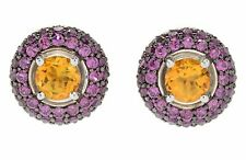 Meher's Jewelry London Citrine & Rhodolite Gemstone Stud with Jackets Earrings