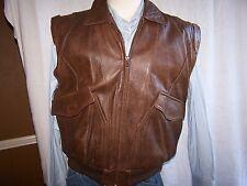 Adam Spencer Leather Biker Bomber  SILK Lined Vest Size 38 (vintage)
