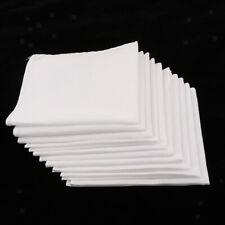 10pcs Vintage Mens 100% Cotton White Handkerchiefs Party Hanky Hankies Towel