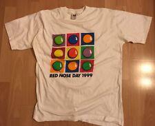 1999 Comic Relief Grande Naso Rosso Giorno Unisex Uomo Donna T-SHIRT BIANCA