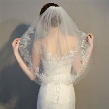 White/Ivory 2 Tiers Wedding Bridal Veils With Comb Elbow Length Lace Applique