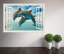 Beautiful close up dolphins jumping diving window wall sticker (38120356ww)