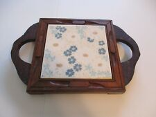 TRIVET ITALIAN MADE IN ITALY WOOD TILE VINTAGE COLLECTIBLE
