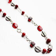Handmade 85cm Single Strand Red Glass Bead Necklace
