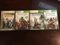 Xbox 360 - Lot of 4 - Assassin's Creed + 2 + 3 + Brotherhood - ALL COMPLETE