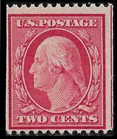 US #349 1909 2c Washington Coil Mint F/VF NH, Original Gum. FREE SHIPPING