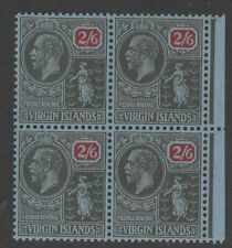 VIRGIN ISLANDS SG100 1928 2/6 BLACK & RED/BLUE MNH BLOCK OF 4