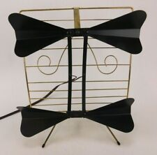 Vtg 60s Black & Brass UHF Set Top Double Bow Tie Television Antenna