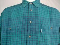 Levis Plaid Flannel Shirt Blue Green Men Large Button Front Long Sleeve Vintage