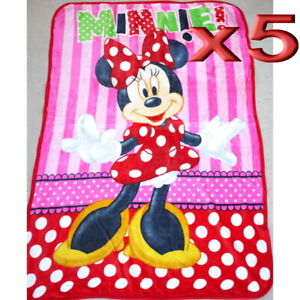 5pc Wholesale All Season Kids Fur Fleece MInnie Mouse Blanket Polar Throw Soft
