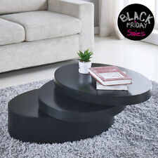 bd2a2f101dc Round Black Coffee Table Rotating Contemporary 3 Layers Living Room  Furniture