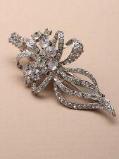 NEW Vintage crystal leaf beak clip hair accessory wedding prom races