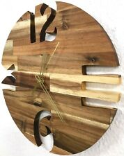 Wanduhr Holz Akazie massiv Uhr lautlos