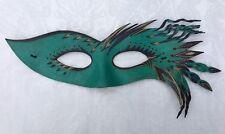 Leather Fantasy Mask OOAK Ren faire Teal HANDMADE SIGNED 1997