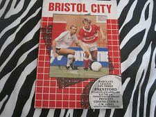 football programme - bristol city v brentford - tues 11th april 1989
