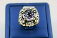 Greg Anthony 18k Yellow Gold & 925 Sterling Silver Diamond & Amethyst Ring