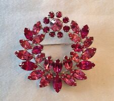 Vintage Pink Fuschia Wreath Brooch Signed Sherman