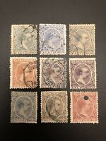 Spain 1889 - 1899 King Alfonso XIII Estate 9 Stamps Collection Lot #2 (GS)