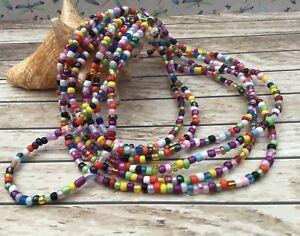 Handmade Rainbow Seed Bead Long Necklace Bracelet Hippie Beach Festival Boho