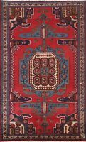 Vintage Geometric Oriental Traditional Area Rug Hand-knotted Wool RED 4x7 Carpet