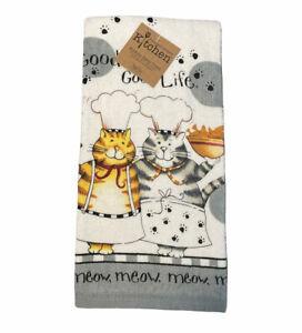 Kay Dee Happy Cat Chef Good Life Terry Kitchen Towel Feline Pet Home Decor