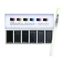 Boku-Undo Solid Sumi Ink ink‐cake 6 Color Painting Gansai Water Brush pen set