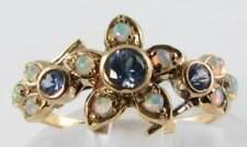 CLASS 9CT GOLD CEYLON BLUE SAPPHIRE & OPAL FLOWER ART DECO INS RING FREE RESIZE