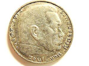 1937-F German Two (2) Reichsmark SilverCoin