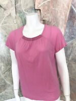 Ellen Tracy Pink 100% Silk Pink Short Sleeve Blouse Top Size Large