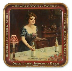 ca1910 PRE PROHIBITION EMPIRE BREWERY TIN LITHO ADVERTISING BEER TRAY BUFFALO NY