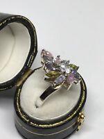 Coloured Rocks Silver Statement Multi Coloured Gem Crystal Ring