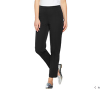 Isaac Mizrahi Live! Regular 24/7 Stretch Ankle Pants with Pintuck Black Reg 8