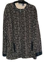 c.b Casual Plus Womens Size 3X Animal Print Black, White Gray Jacket Long Sleeve