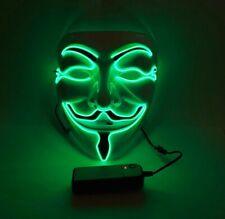 Green V LED Face Mask Halloween Scary Movie Cross Eye Light Up Halloween Mask
