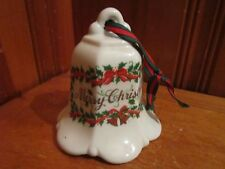 """Vintage Large 4 1/2"""" Porcelain Merry Christmas Bell Ornament Holly w/ Ribbon"""