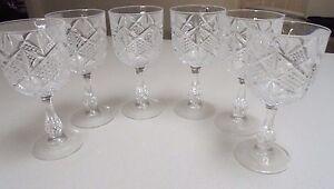 Retro Wine Glasses -Cut Glass Diamond Shape set of 6- 250 ml wine glass