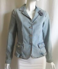 CABI Light Blue Denim Jean Zipper Flower Brooch Pin Jacket Coat Blazer Sz 2 XS
