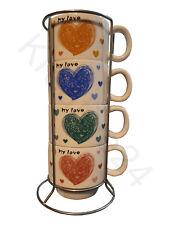 Kaffeetasse mit Ständer 4tlg. Kaffeebecher Kaffee Tee Cup Coffee Teeglas Henkel