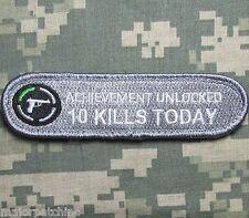 ACHIEVEMENT UNLOCKED 10 KILLS TODAY COMBAT ARMY ACU VELCRO® BRAND FASTENER PATCH