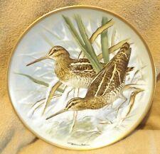 Franklin Porcelain Common Snipe Gamebirds Plate 1979 Haviland Limoges