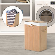 HOMCOM Laundry Hamper Bamboo Basket Clothes Storage Organizer Bag Lid