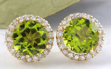 6.12ct Natural Green Peridot and Diamond 14K Yellow Gold Earrings