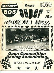 Speedway 605 Auto Race Program 4/1976-Rick Becker-George Esau-G