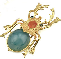 NEW Large Scarab Beetle Insect  Crystal Resin Vintage Style Gold Brooch Pin