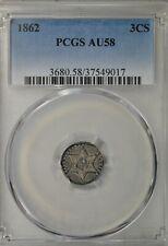 1862 3 cent silver, type 3, PCGS AU58